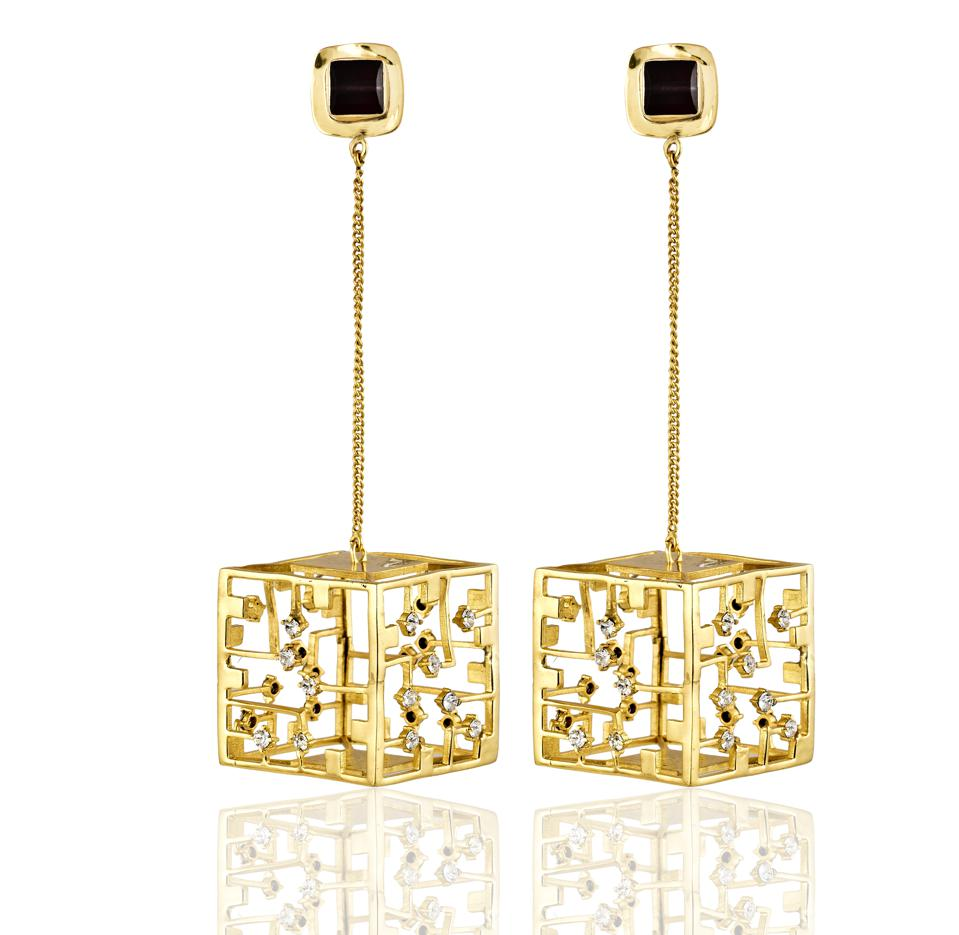 Gold Cube Earrings - A dangling set of dazzlingearrings that make a statement and command attention to the wearer's elegance