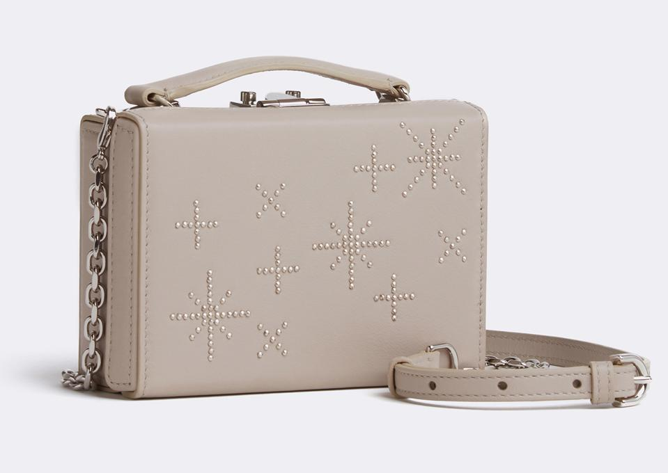Mark Cross' Grace Mini Leather Box Bag in Embellished Nappa Taupe