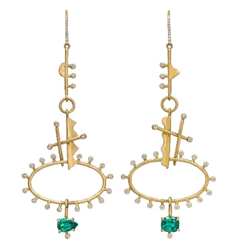 Margery Hirschey x Gemfields x Walk for Giants Zambian emerald, diamond and gold earrings, 18k gold and Gemfields Zambian emeralds totalling 3.64cts and 1.5cts of natural brilliant-cut diamonds