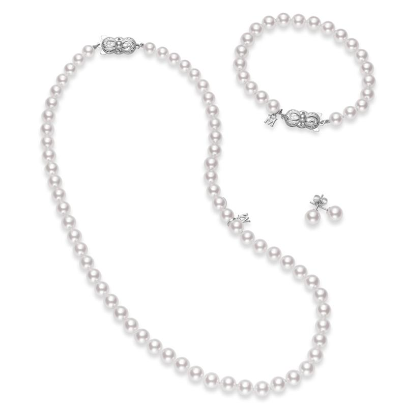 "Mikimoto's 18"" Akoya Cultured Pearl Three Piece Set in 18K White Gold"