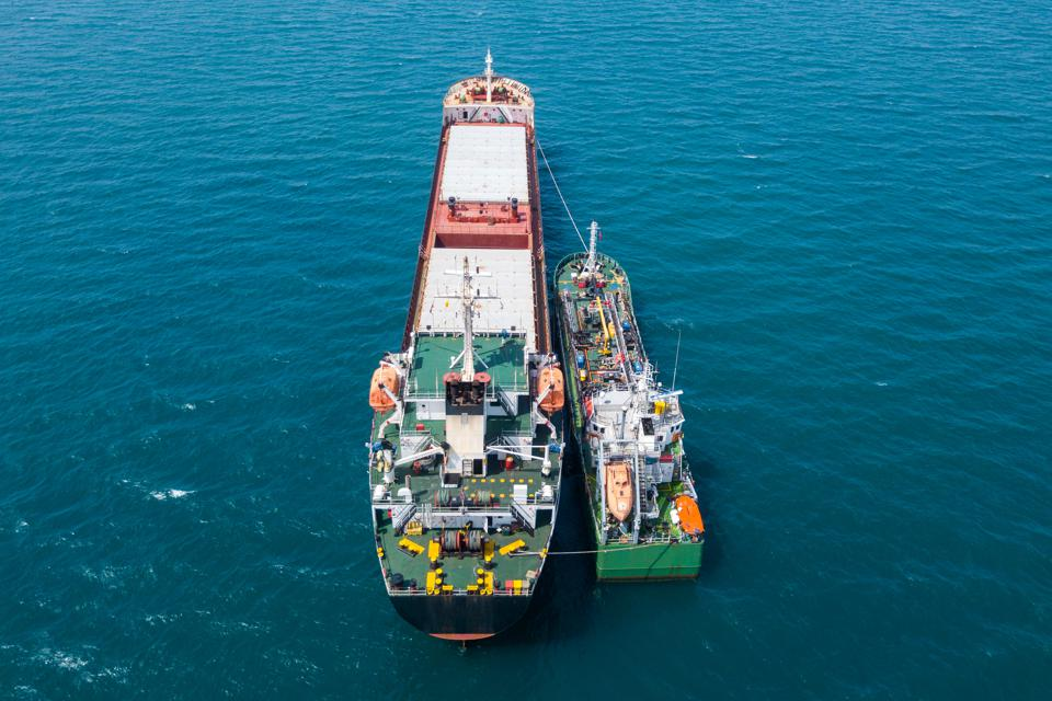 Many ship refueling operations take place offshore from ports, such as the Port of Singapore