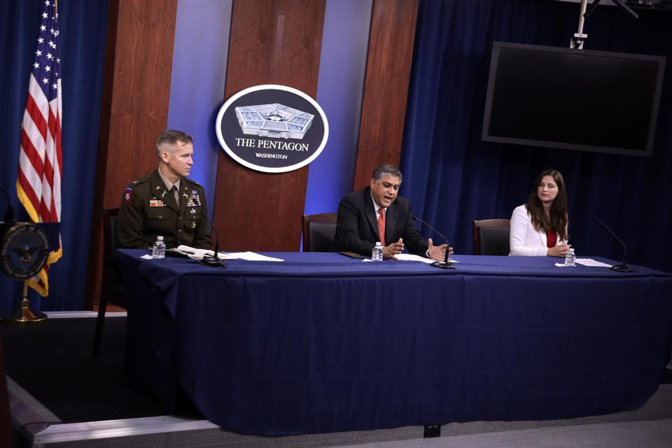 Pentagon's Director Of Joint Artificial Intelligence Nand Mulchandani Holds Briefing