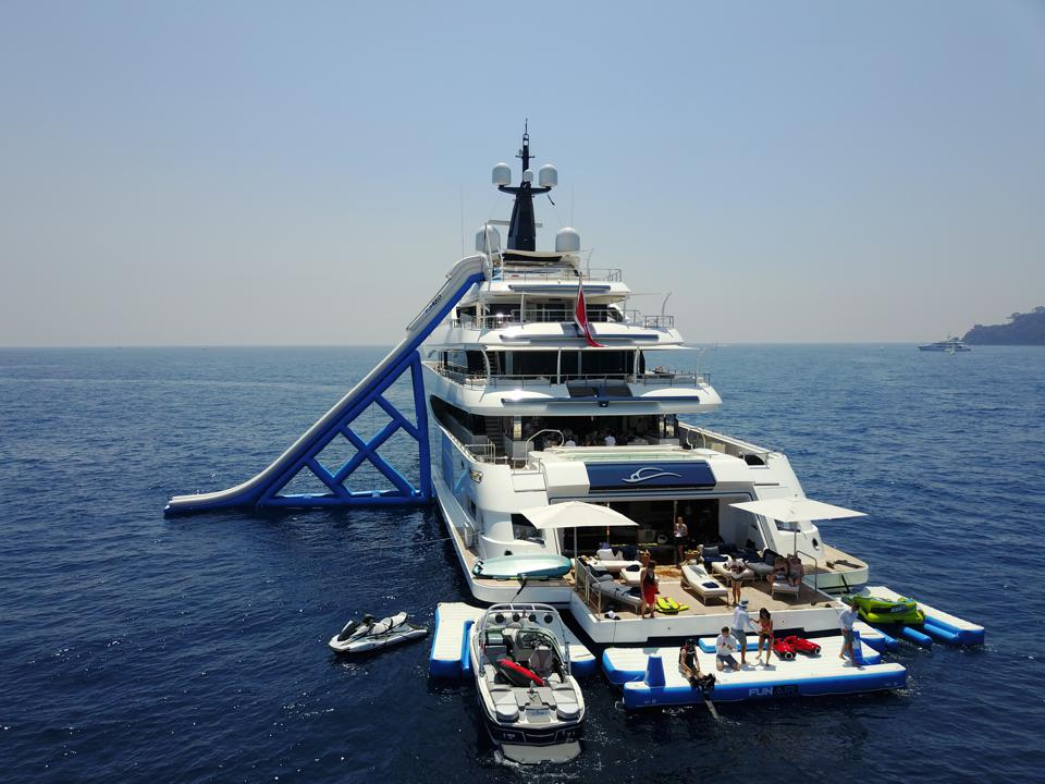 Inflatable water slide on a super-yacht.