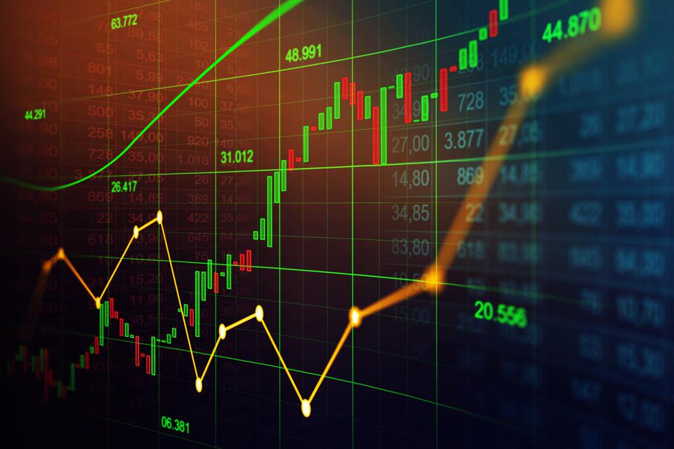 Stock market or forex trading graph in graphic concept suitable for financial investment