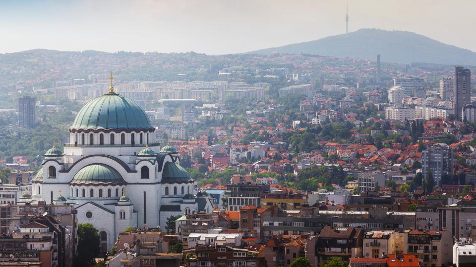 Belgrade downtown skyline with temple of Saint Sava and Avala tower