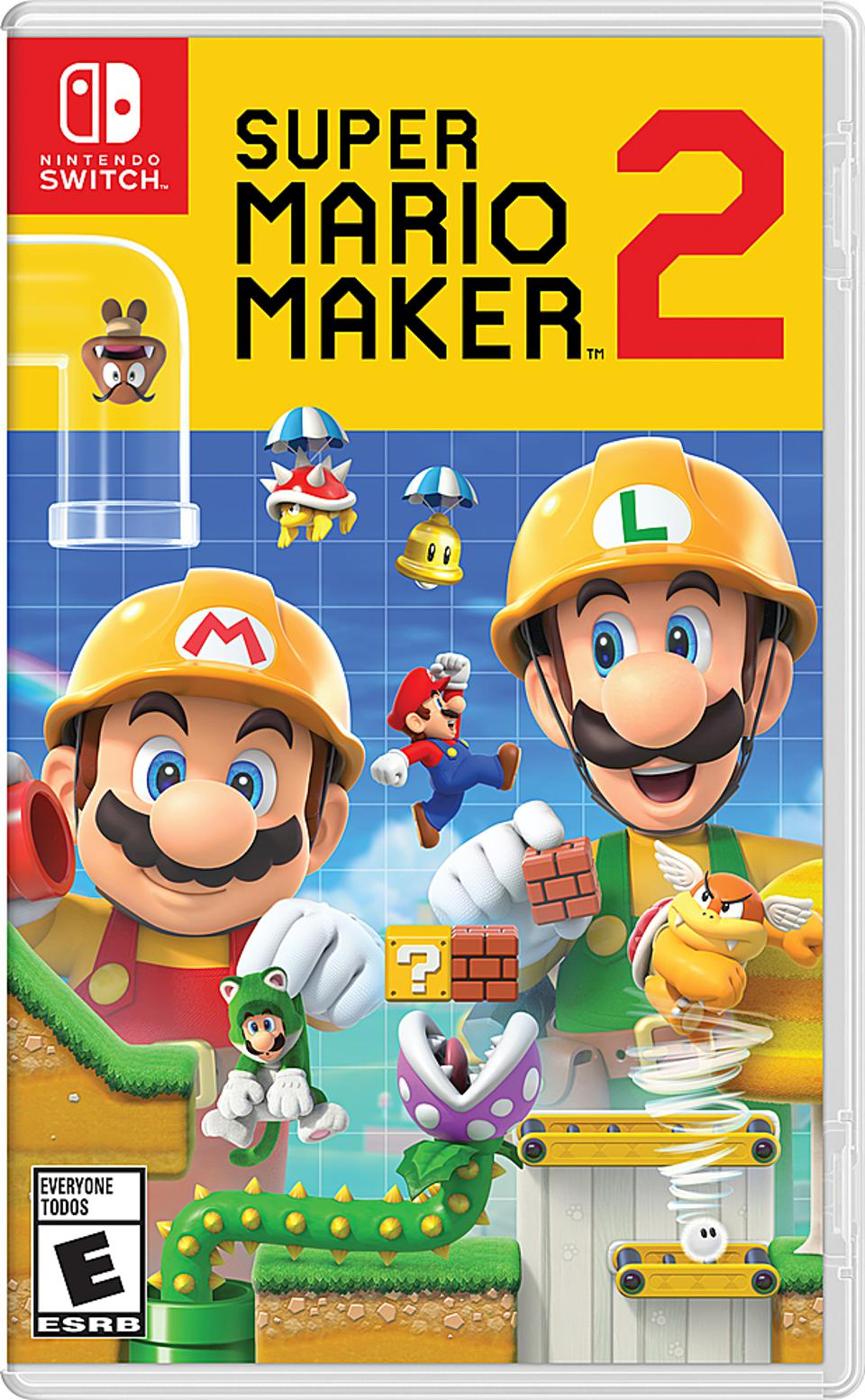 Super Mario Maker 2 for Nintendo Switch retail packaging.