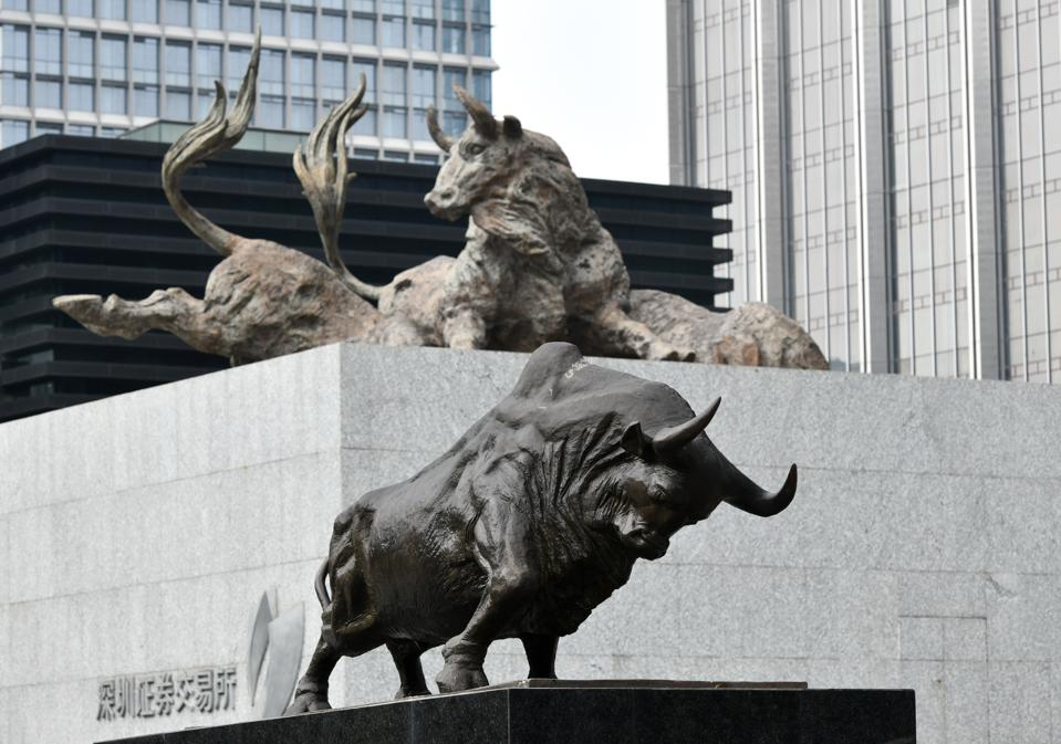Bull Statues Outside Shenzhen Stock Exchange