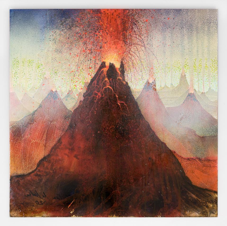 A fantastic landscape with exploding volcanoes
