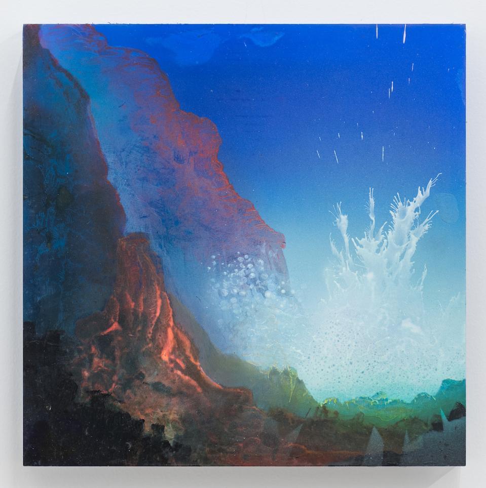 A gigantic wave splashing over a mountain range