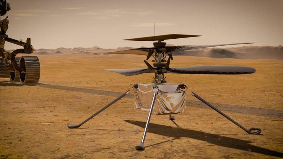 Artist's conception of the Ingenuity Mars helicopter poised for flight on the Red Planet.