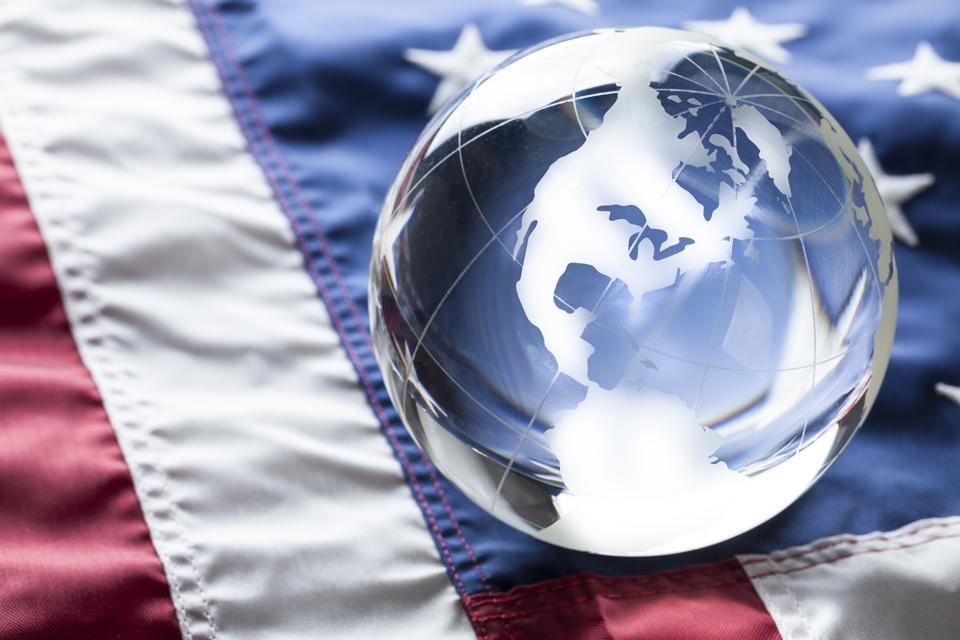 American Flag and Globe of USA