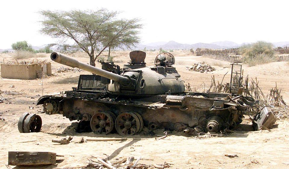 An Eritrean tank destroyed in a battle with Ethiop