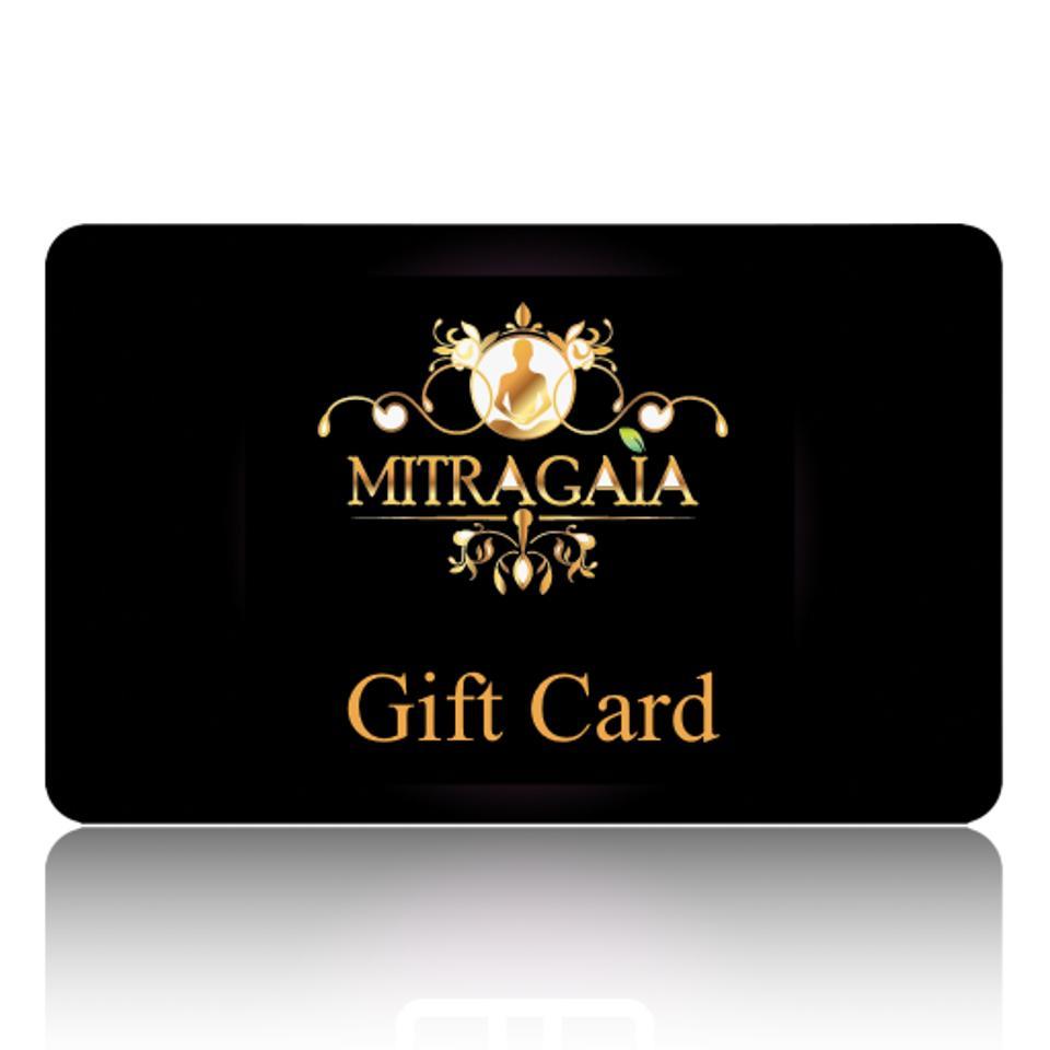 MITRAGAIA Gift Card, ranging from $10-500.