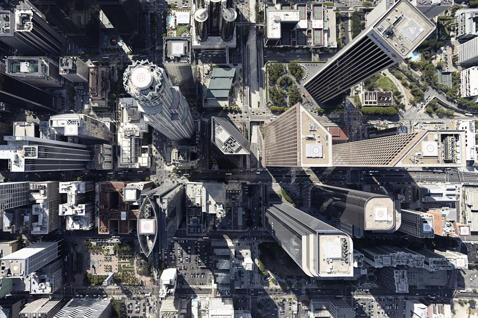 Aerial view of city, Los Angeles, Los Angeles County, California, USA