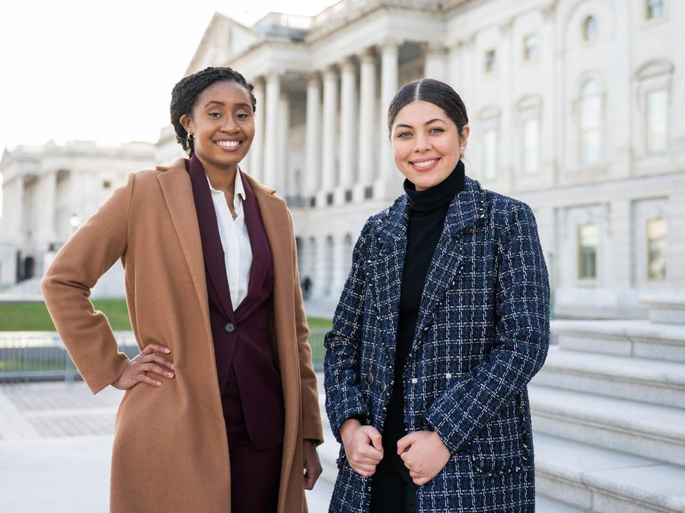 Chastity Murphy (l) legislative staffer for Representative Rashida L. Tlaib (D-MI) and Claudia Pagon Marchena (r) legislative staffer for Representative Alexandria Oscar-Cortez (D-NY) on Capitol Hill.