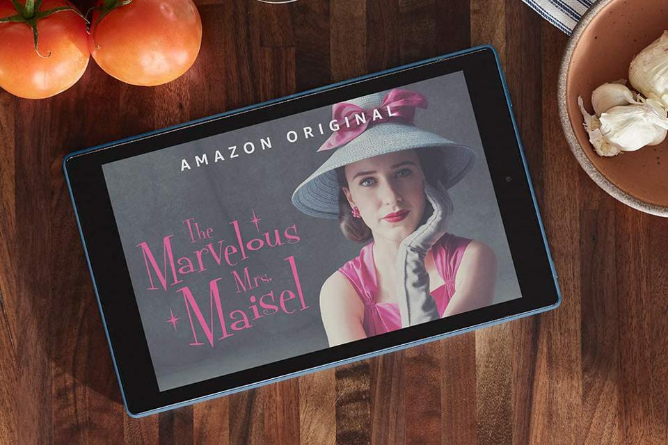 Fire HD 10 Tablet with a promo still from The Marvelous Mrs. Maisel