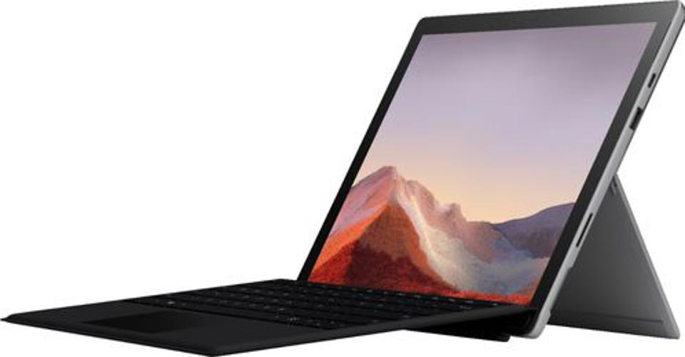 Microsoft Surface Pro 7 laptop with kickstand extended and type cover