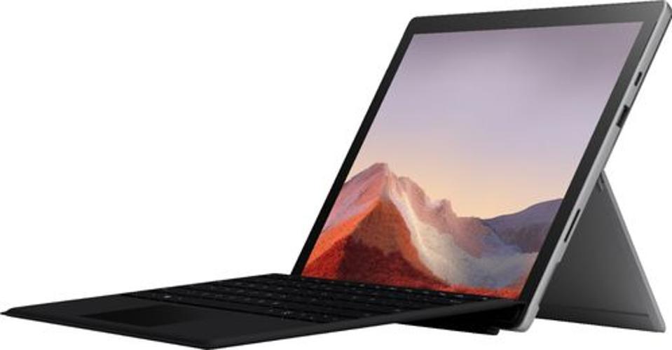 Laptop Microsoft Surface Pro 7 con soporte extendido y cubierta tipo