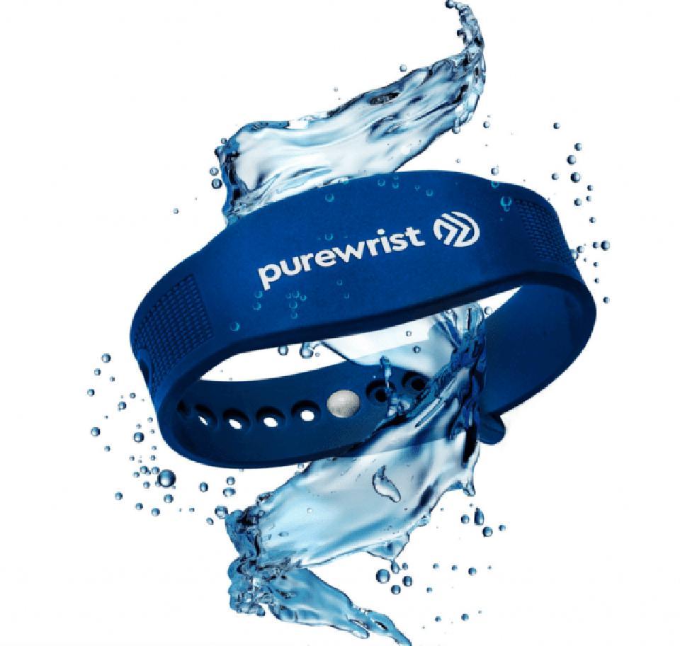 Marketing image of a blue Purewrist band