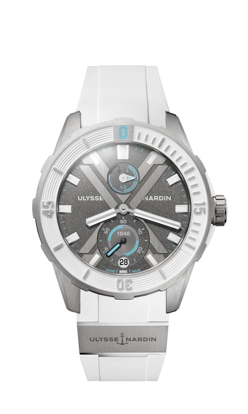 Gleaming white DiverX dive watch from Ulysse Nardon