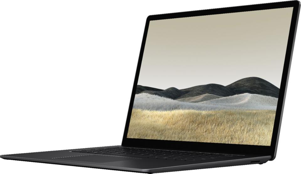 Microsoft Surface Laptop 3 opened with hillside wallpaper
