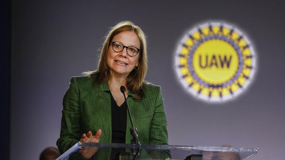 GM and Auto Workers Union Hold Ceremonial Handshake Ahead Of Labor Talks