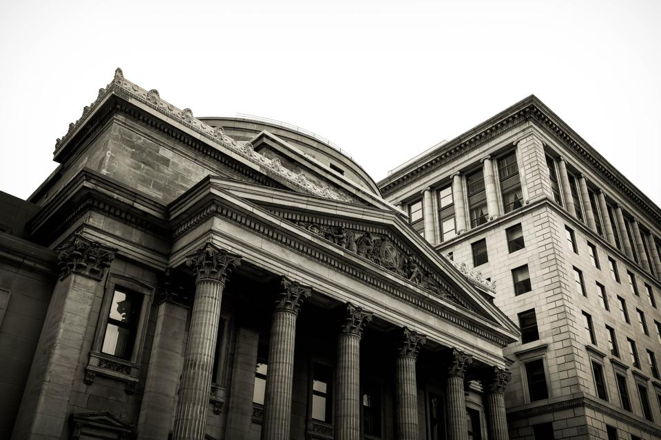 black and white photo of a banking institution.