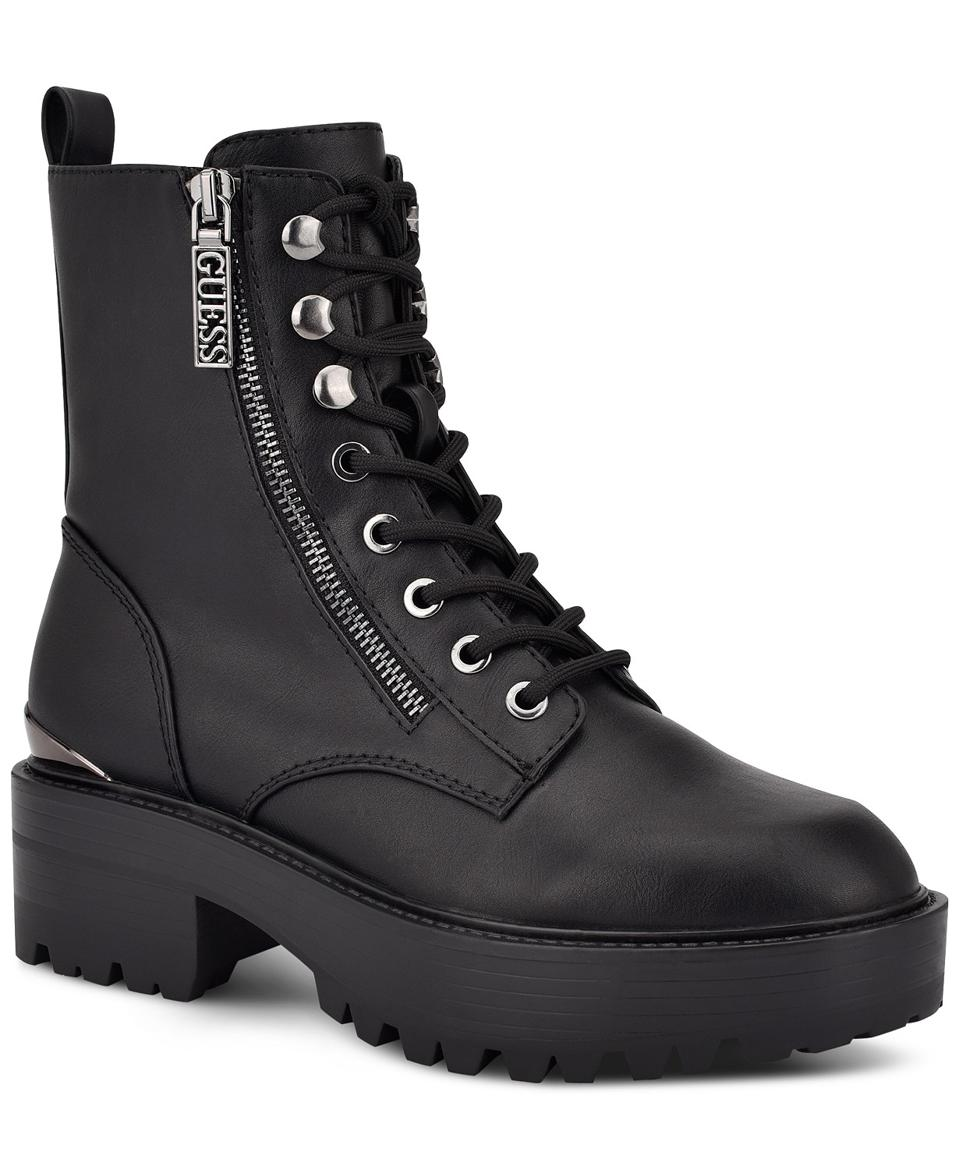 GUESS Women's Fearne Lug Sole Lace-Up Booties