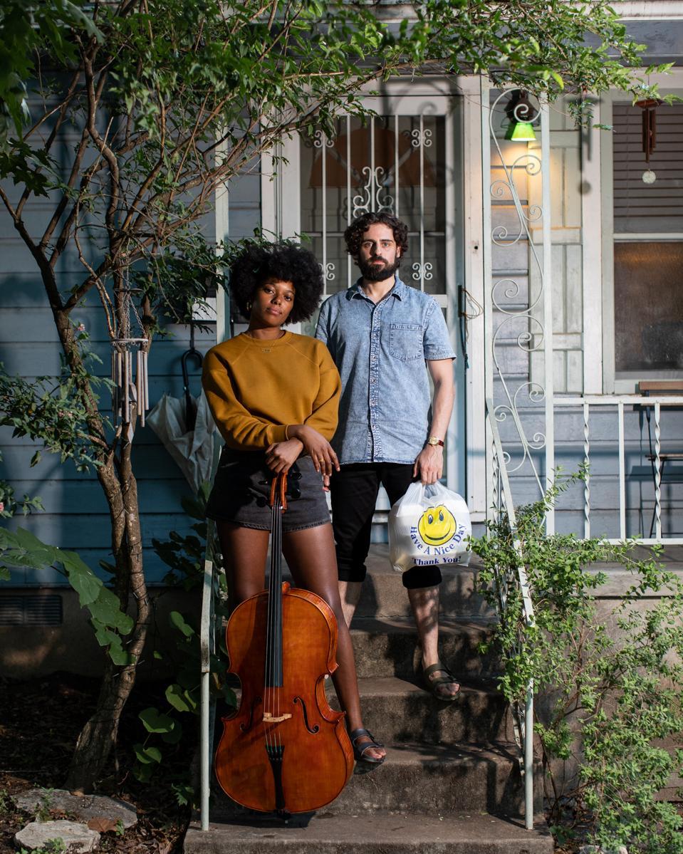 Titilayo & Edwin on their porch.