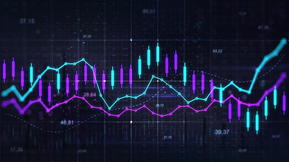 Stock market trading graph. Trading trends and economic development.