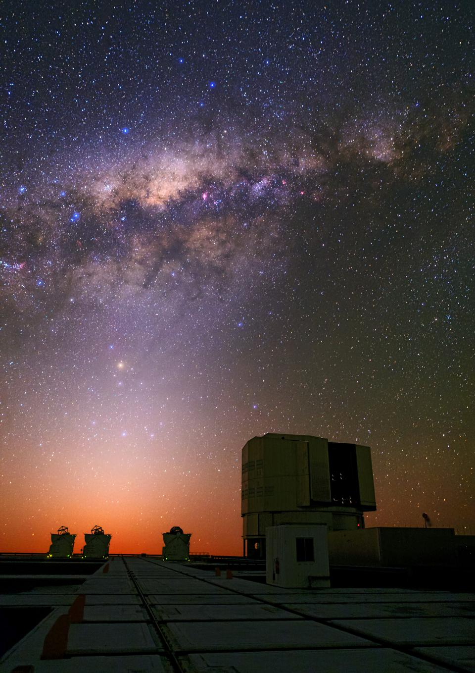 The Milky Way and the night sky's light are joined by the zodiacal light in this photo.