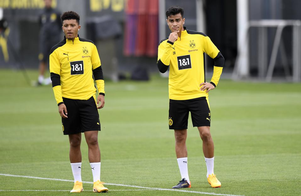 Borussia Dortmund's Jadon Sancho and Reinier