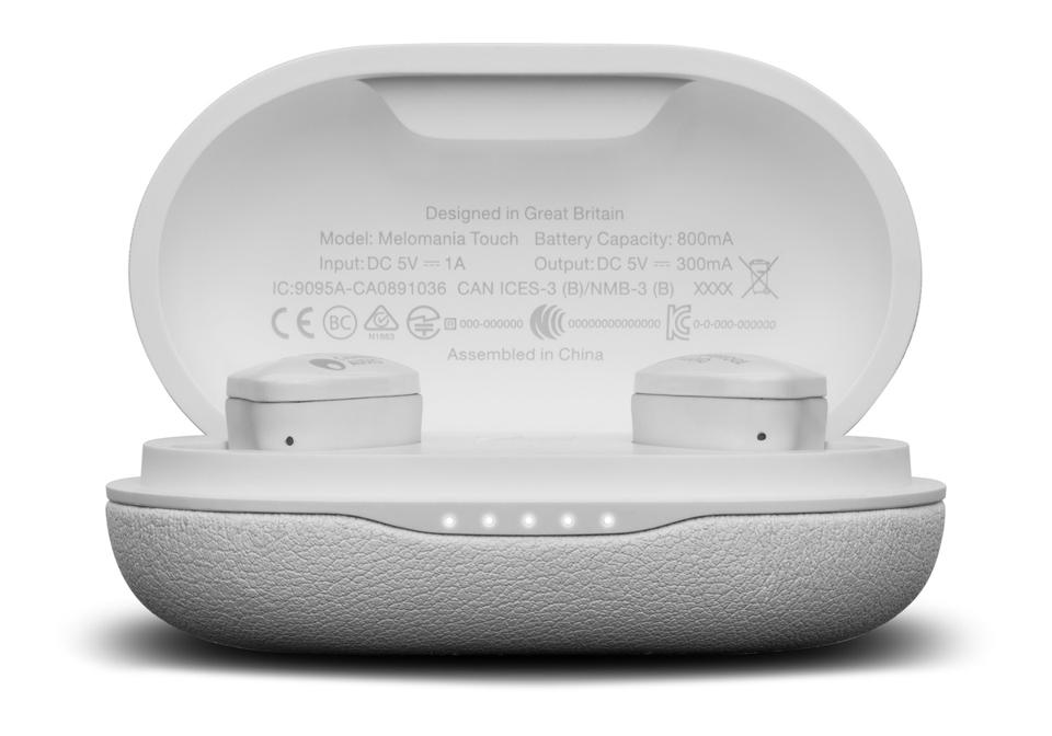 Front view of white Melomania Touch earbuds in their charging case with the lid open
