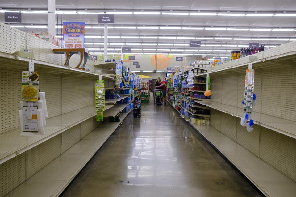 Toilet paper shelves are empty at a Save Mart supermarket...