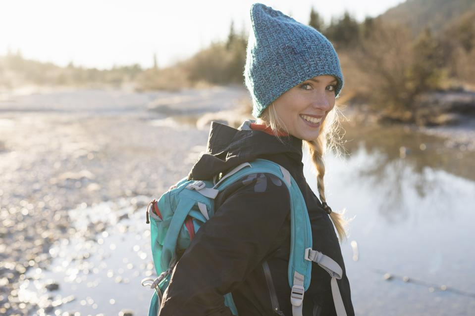 Portrait of young female hiker