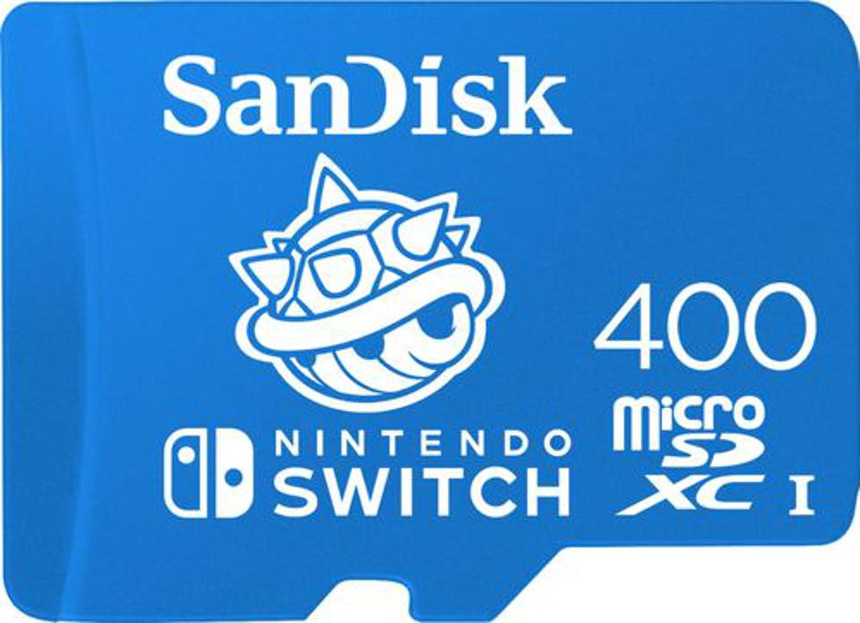 SanDisk 400GB microSD card in blue with blue spiked shell