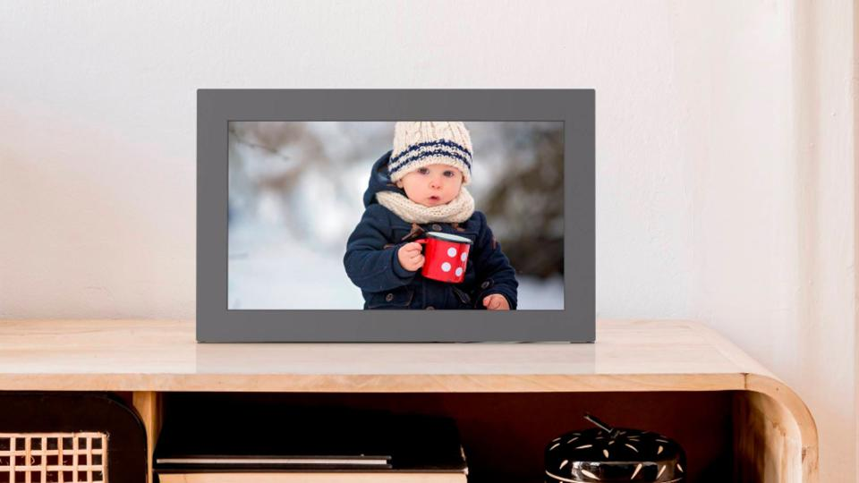 Meural WiFi Photo Frame with picture of young boy in snow gear