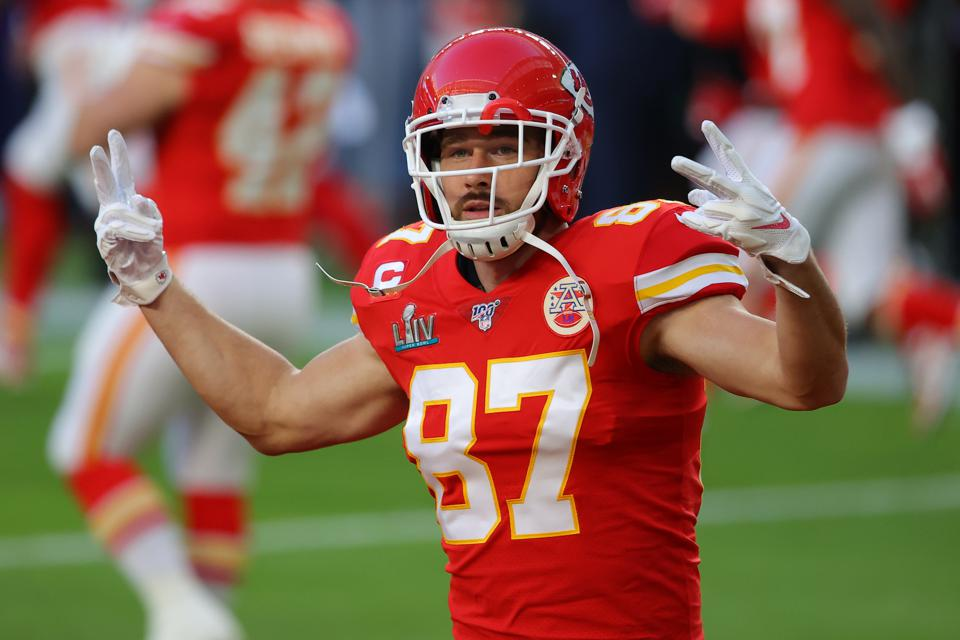Tight end Travis Kelce gestures before Super Bowl 54 between the San Francisco 49ers and Kansas City Chiefs.