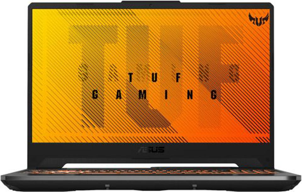 ASUS TUF gaming laptop opened with promotional wallpaper showing