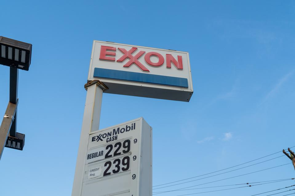 A view of an Exxon logo at a Gas Station in Flushing,...