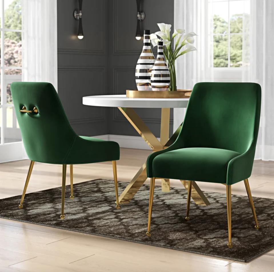 Everly Quinn Stovall Velvet Upholstered Side Chairs