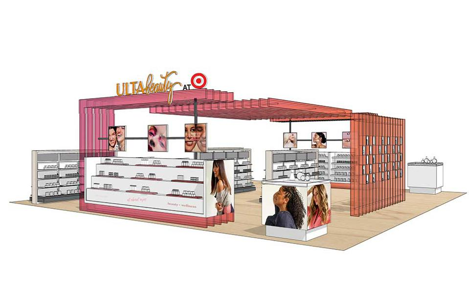 ULTA beauty at Target looks like a large in-store shop with pink and coral-colored accents.