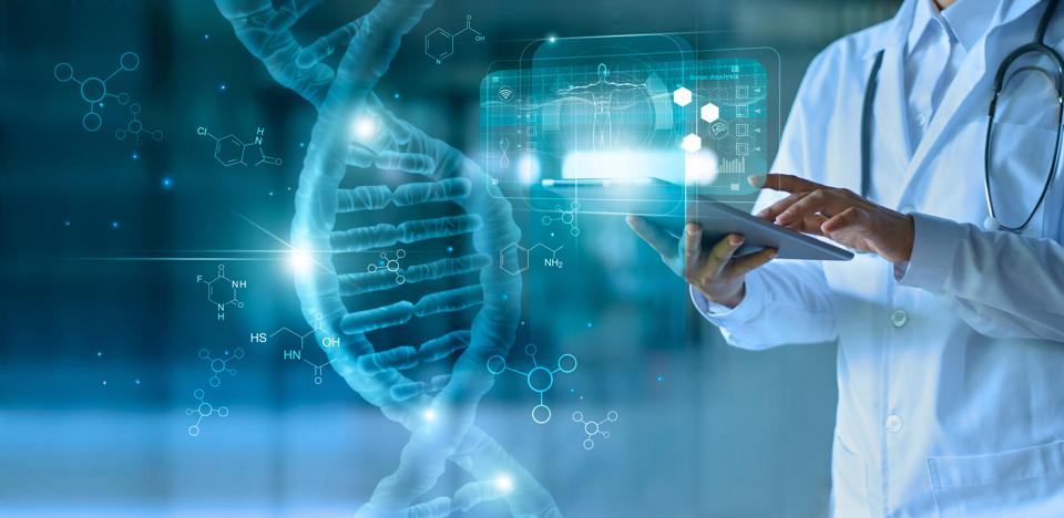 Medical doctor touching electronic tablet with holographic molecules and DNA