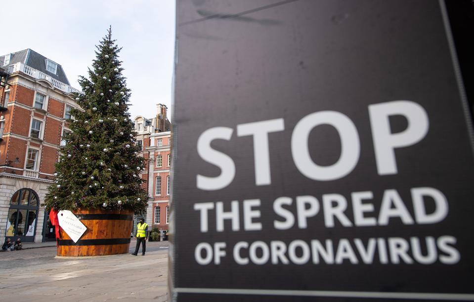Covent Garden's Christmas tree in London, November 2020