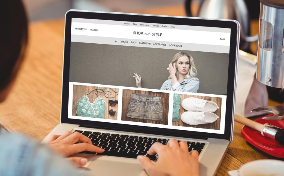 Composite image of an online clothing store