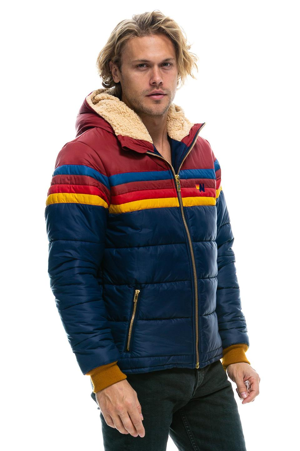 blue aviator puffer jacket with shearling hood