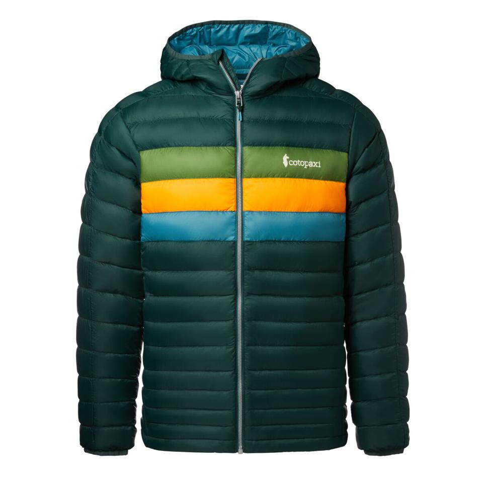 hunter green puffer jacket with stripes