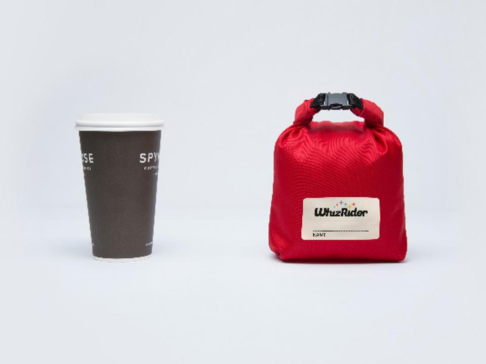 A WhizRider in a red bag is the same size as a coffee cup.