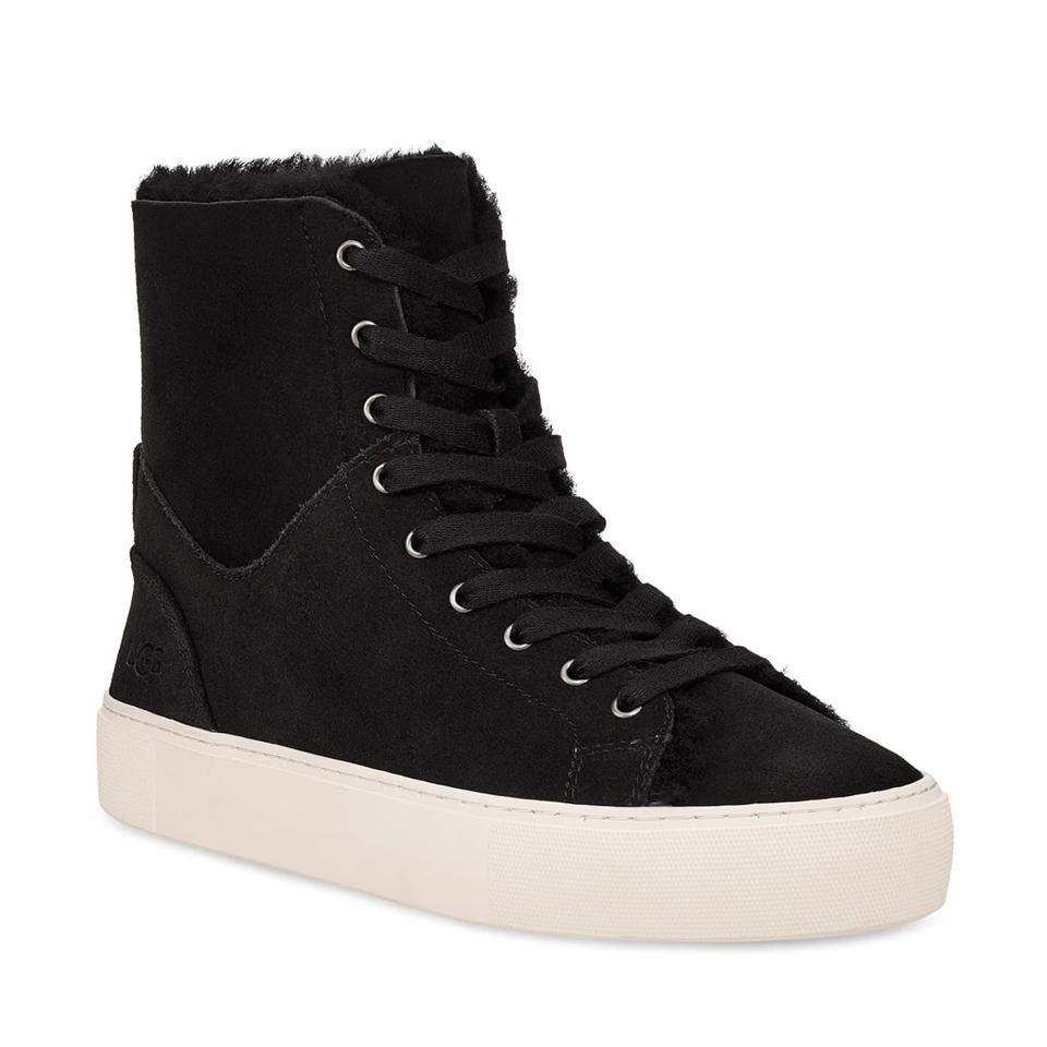 UGG Beven Genuine Shearling High Top Sneaker in black.