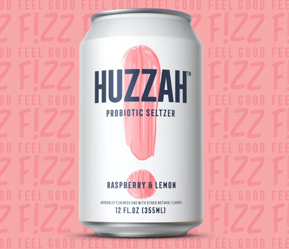 HUZZAH Probiotic Seltzer Raspberry Lemon
